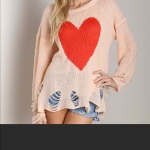 NWT wildfox big heart Lennon sweater
